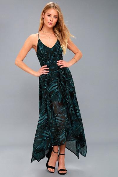 Black and Teal Green Print Sleeveless Midi Dress