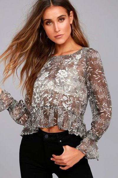 Floral Print Embroidered Top