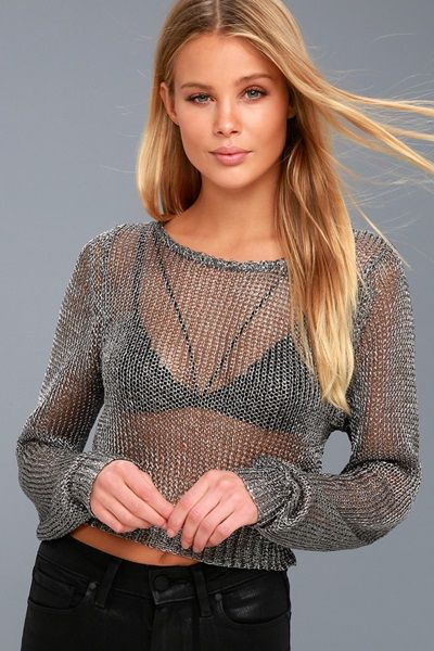 Metallic Knit Crop Sweater