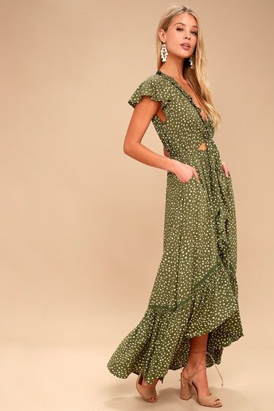 Olive Green and White Polka Dot Dress