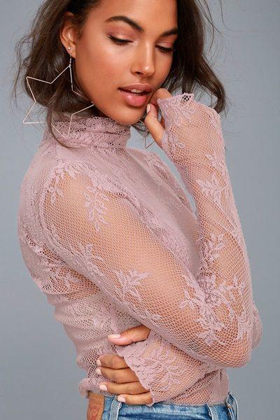 Pink Lace Turtleneck Top