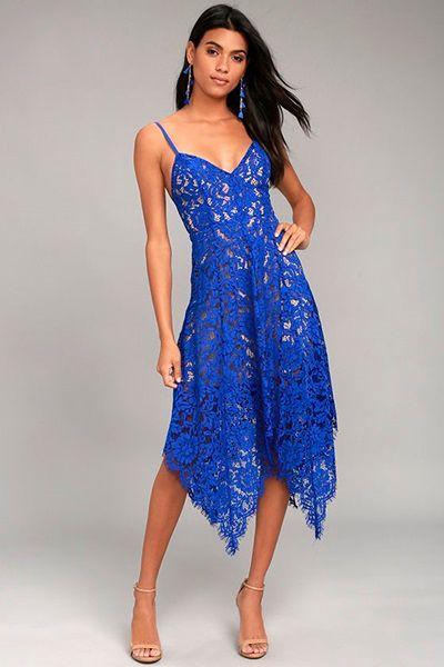 Royal Blue Lace Midi Dress