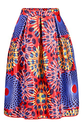 African Print Knee Length Flare Skirts