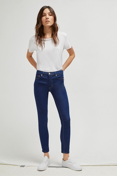 look stylish in high-waist denim jeans and simple white tee
