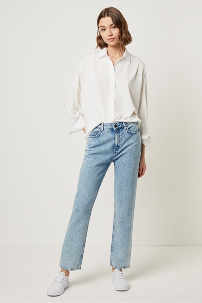 look stylish in denim jeans and classic white shirt