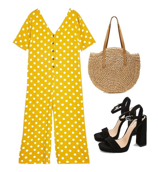 Yellow Polka Dot Jumpsuit Outfit