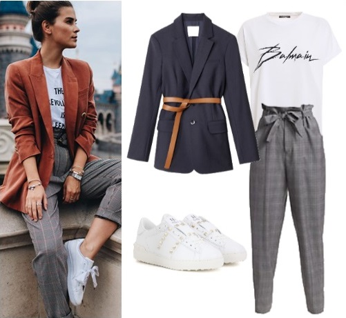 blazer and high-waisted trousers with sneakers outfit