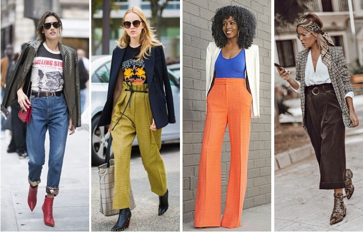 how to wear a blazer with high-waisted trousers