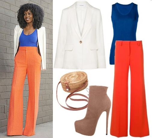 colorblocked blazer and high-waisted flared trousers outfit