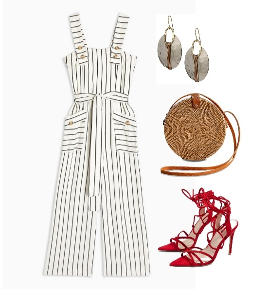 Stripe Pinafore Jumpsuit