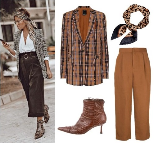 Tonal blazer and high-waisted trousers outfit