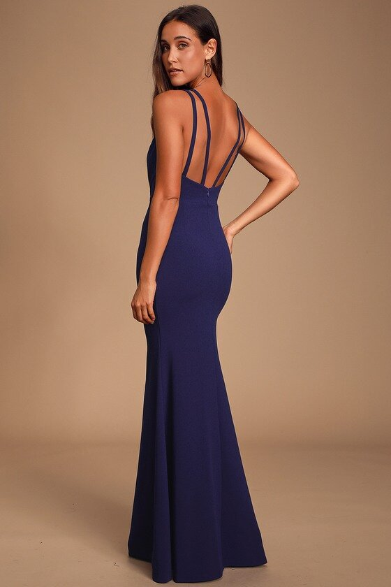 Navy Blue Backless Maxi Dress