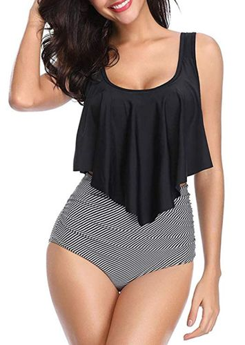 High Waisted Swimsuit Ruffled Top Tummy Control
