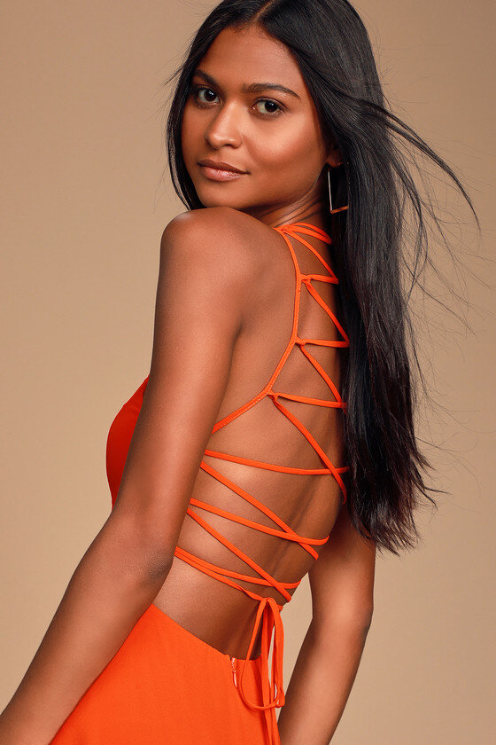 Strappy to be Here Orange Maxi Dress