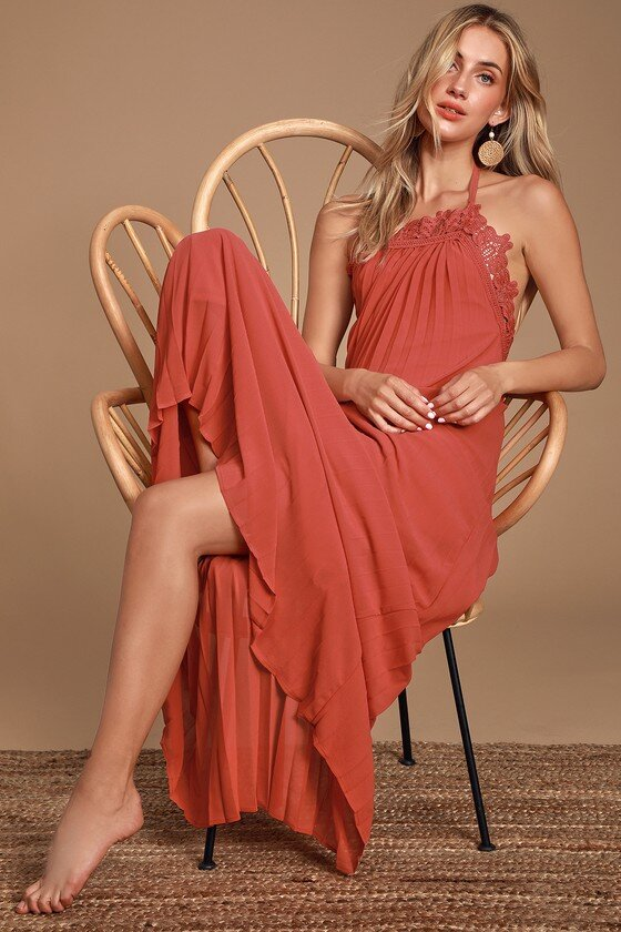 Red Lace Pleated Halter Maxi Dress