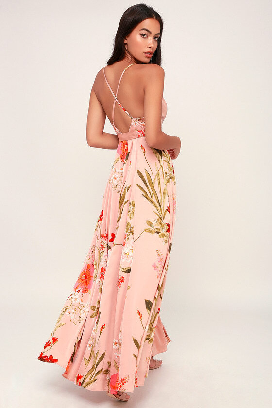 Blush Pink Floral Print Satin Maxi Dress