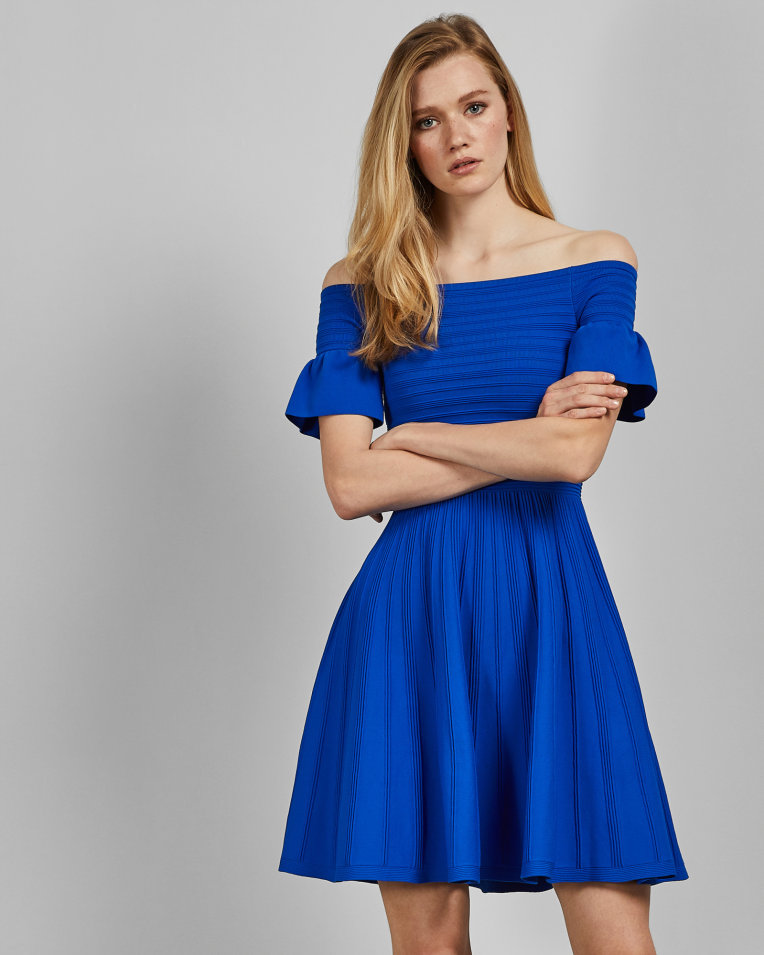 blue off shoulder skater dress