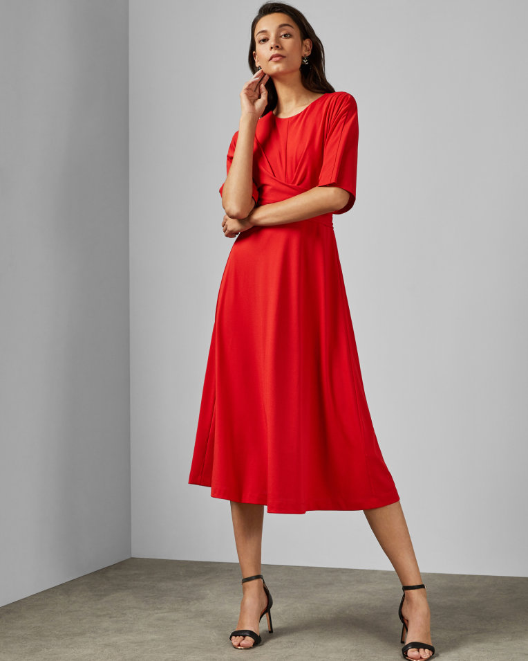 bright red wrap midi dress