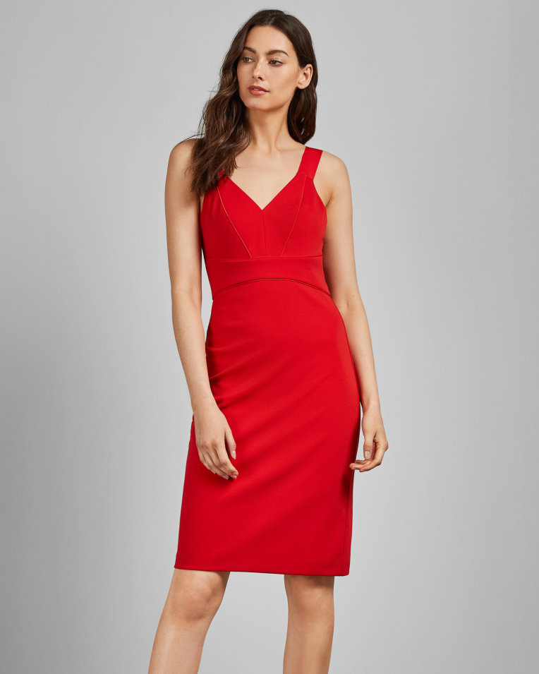 red badycon dress