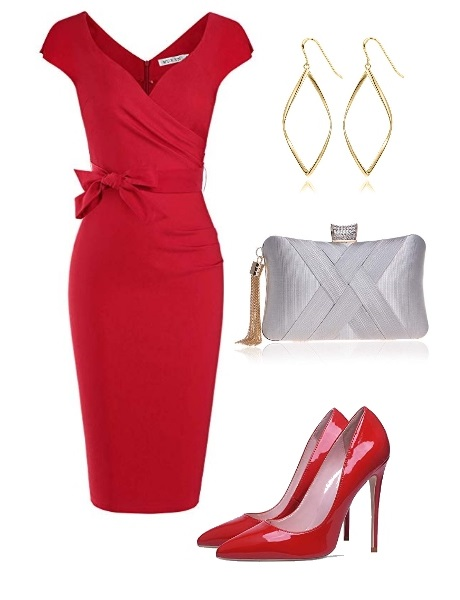 red high-heeled pump