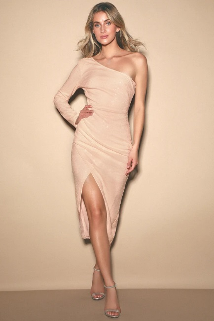 Pale Pink Sequin One-Shoulder Dress
