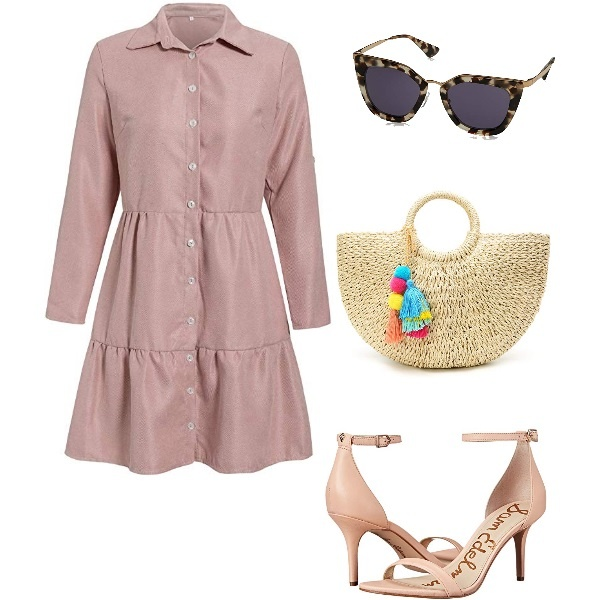 Casual Button Down Shirt in Nude Pink