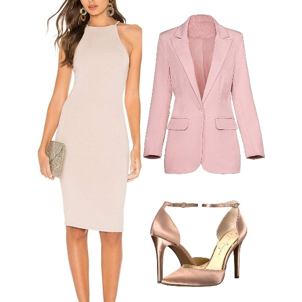A Nude Dress Layered with a Pink Jacket