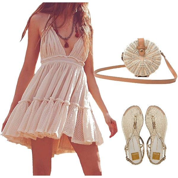 Romantic Dress in Soft Nude