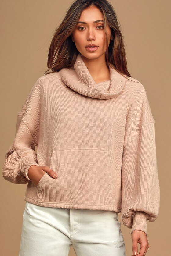 Beige Cowl Neck Balloon Sleeve Knit Sweater