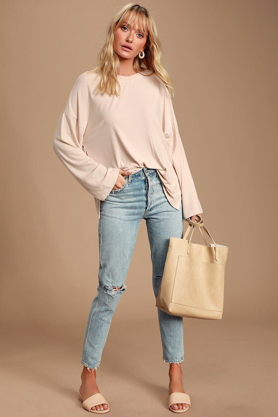 Beige Ribbed Long Sleeve Top