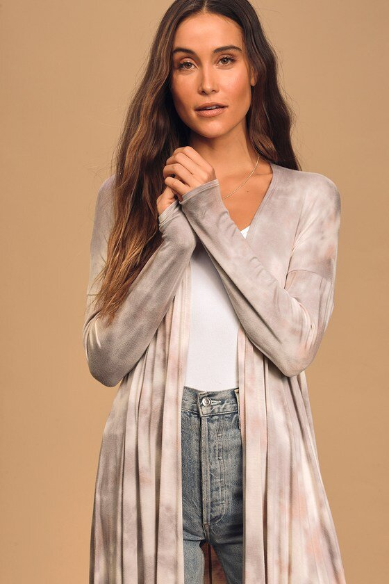 Lavender Tie-Dye Long Cardigan Sweater