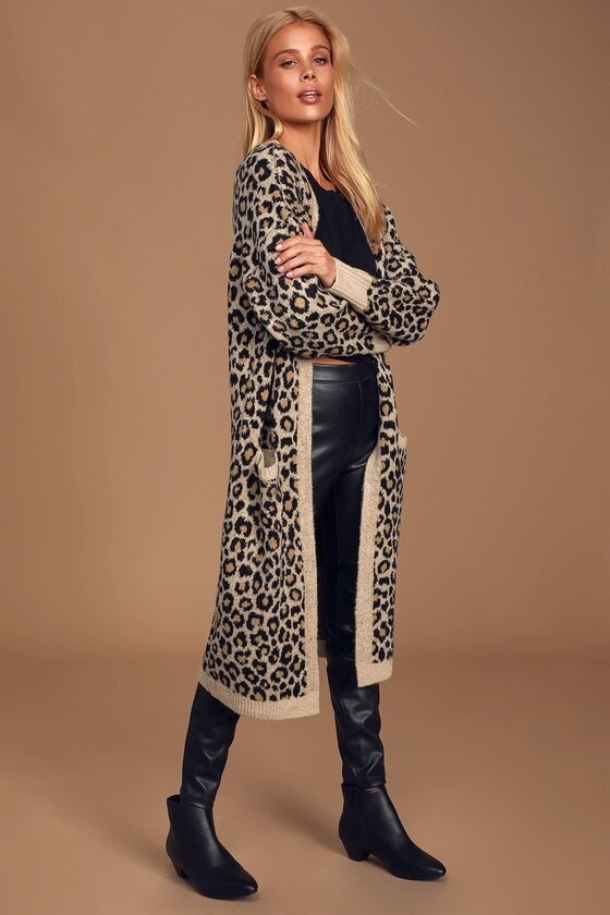 Leopard Print Knit Long Cardigan Sweater