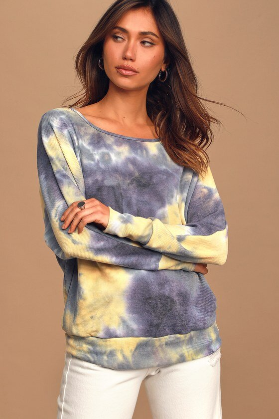 Tie-Dye Long Sleeve Thermal Top