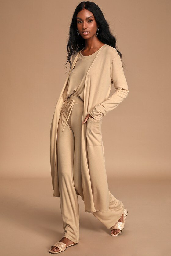 Beige Long Cardigan Sweater