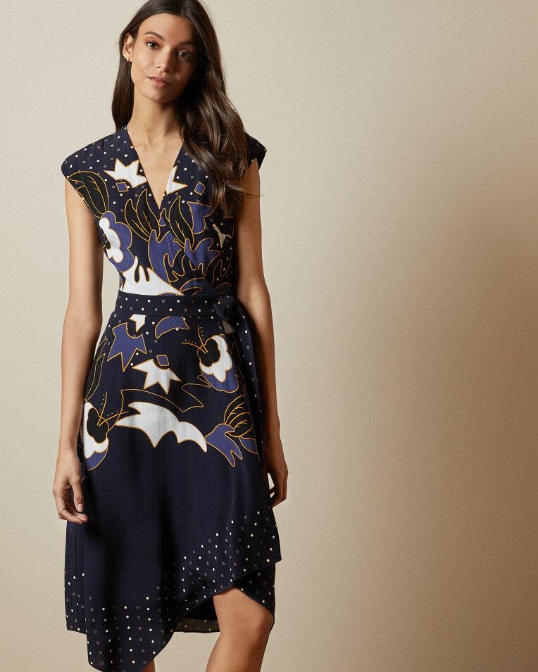 Navy Print wrap dress