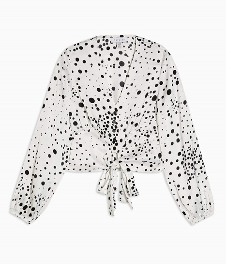 Black and White Animal Print Frill Tie Blouse