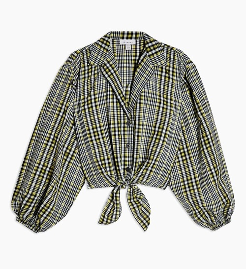 Black and Yellow Gingham Tie Front Shirt