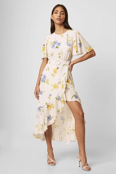 Cascade Hem Belted Dress