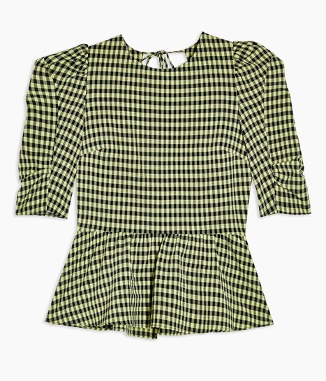 Lime Green Gingham Lace Up Puff Sleeve Blouse