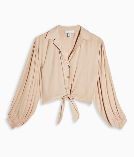 PETITE Champagne Satin Tie Front Shirt
