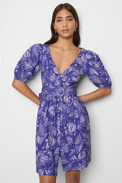Poplin Sleeve V Neck Dress