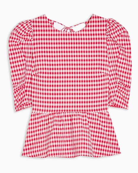 Red Gingham Lace Up Puff Sleeve Blouse