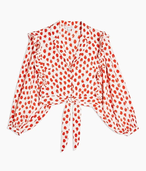 Red Spot Frill Tie Front Blouse