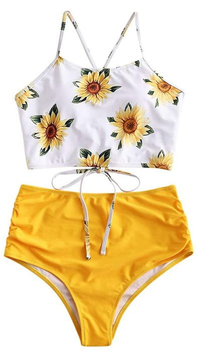 Sunflower High Waisted Bathing Suit