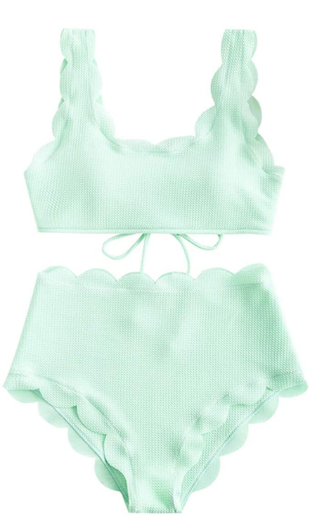 Scalloped Textured Swimsuit High Waisted