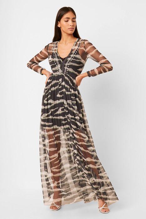 Zebra Print Embroidered Maxi Dress