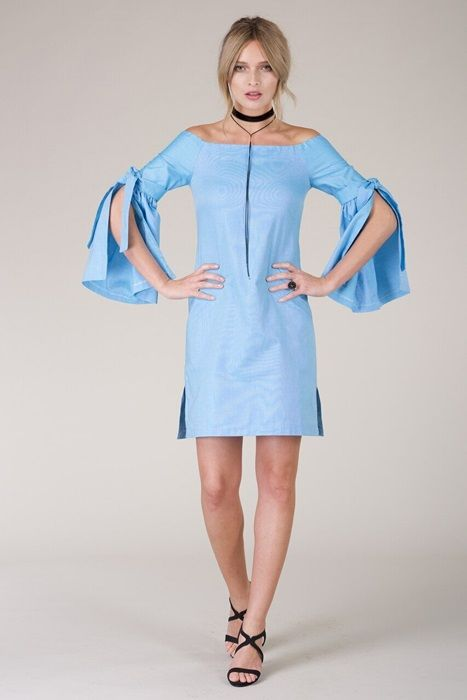 Blue Elbow Tie Off-The-Shoulder Dress