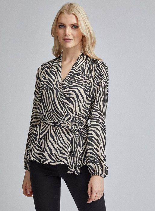 Cream Zebra Print Wrap Top