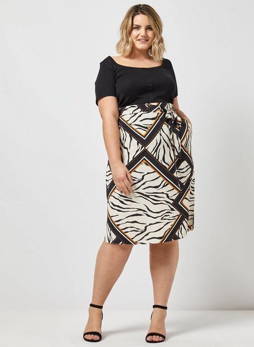 Curve Zebra Print Midi Skirt