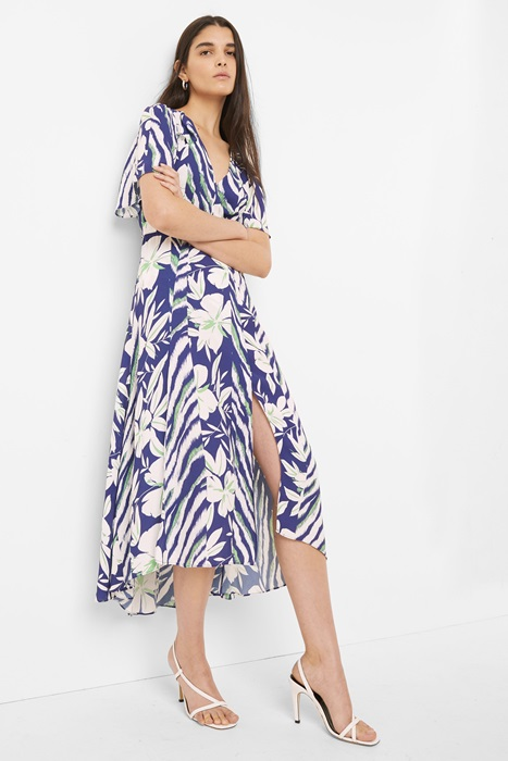 Crepe Faux Wrap Belted Dress